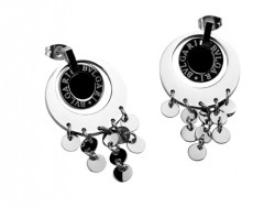 Design Bvlgari Drop Pendant Earrings in 18kt White Gold with Black Onyx