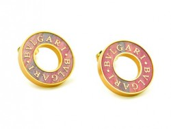 Bvlgari Stud Earrings in 18kt Yellow Gold with Antique Bronze