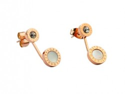 Bulgari-Bvlgari Stud Earrings in 18kt Pink Gold with Mother of Pearl and Diamonds