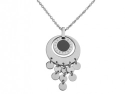 Bvlgari Pendant with a Chain in 18kt White Gold with Black Onyx