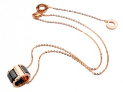 Bulgari Small Round Pendant with Chain in 18kt Pink Gold with Black Ceramics