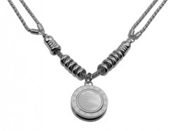 Bvlgari Bulgari Charm Necklace in 18kt White Gold with Mother of Pearl and Black Onlyx
