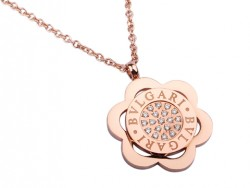 Bvlgari Bulgari Flower Pendant with a Chain in 18kt Pink Gold with Pave Diamonds