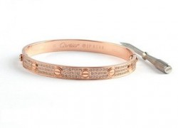Cartier Pink Gold Love Bracelet With Paved Diamonds+Free Screwdriver