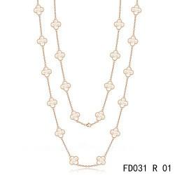 Van Cleef & Arpels Vintage Alhambra 20 Motifs Long Necklace Pink Gold White MOP