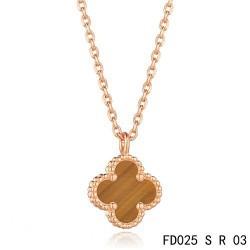 Van Cleef & Arpels Sweet Alhambra Tiger's Eye Clover Necklace Pink Gold