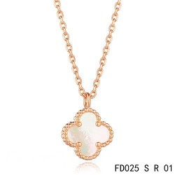 Van Cleef & Arpels Sweet Alhambra Necklace Pink Gold White Mother of Pearl