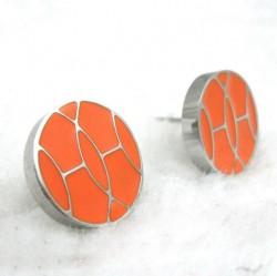 Hermes Orange Enamel Stud Earrings in 18kt White Gold