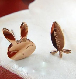 Inspired Cartier Rabbit & Radish Earrings in 18kt Pink Gold