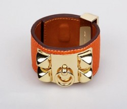 Hermes Kelly Dog Bracelet,Orange Leather and Pink Gold Cuff