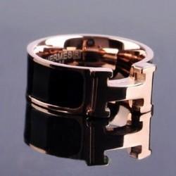 Hermes H LOGO Ring in 18kt Pink Gold With Black Enamel