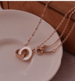 Cartier LOVE 2 Rings Charm Necklace in Pink Gold With White Ceramic