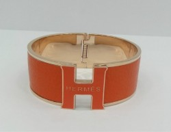 Hermes Vintage Clic Clac H Bracelet in 18kt Pink Gold with Orange Leather,Wide