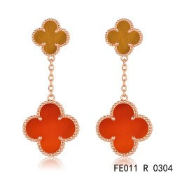 Van Cleef & Arpels Pink Gold Magic Alhambra 2 Stone Combinatio Motifs Earclips