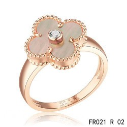 Van Cleef and Arpels Vintage Alhambra Ring Pink Gold Grey Mother of Pearl with Diamond