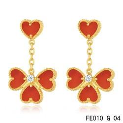 Sweet Alhambra Effeuillage Earclips Yellow Gold 4 Carnelian