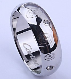Cartier Happy Birthday Wedding Band Ring in White Gold with Diamonds