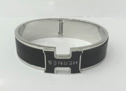 Hermes Clic Clac H Bracelet in 18kt White Gold with Black Leather,Narrow