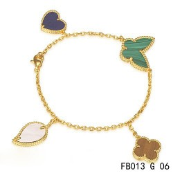 Lucky Alhambra Yellow Gold Bracelet with 4 Stone Combination Motifs CHLB0601
