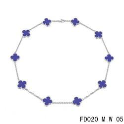 Van Cleef Arpels Vintage Alhambra Necklace White Gold 10 Motifs Sapphire