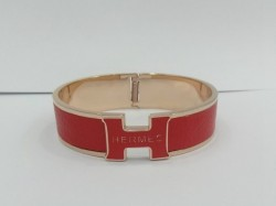 Hermes Clic Clac H Bracelet in 18kt Pink Gold with Rose Leather,Narrow