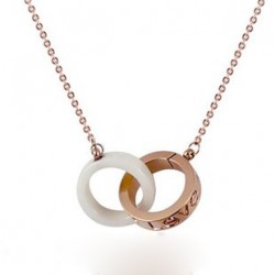 Cartier LOVE 2 Rings Charm Necklace in 18K Pink Gold & White Ceramic