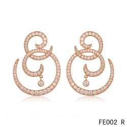 Van Cleef Arpels Pink Gold Oiseaux de Paradis Volutes Diamond Earstuds