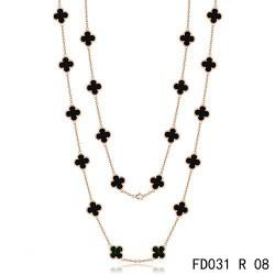 Van Cleef Arpels Vintage Alhambra Long Necklace 20 Motifs Black Onyx Pink Gold