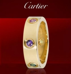 Cartier LOVE Ring in Yellow Gold With Coloured Stones