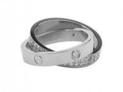 Cartier Infinity LOVE Ring in 18kt White Gold with Diamonds-Paved