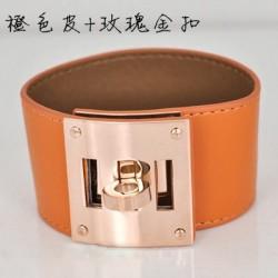 Hermes Kelly Dog Orange Leather KD Bracelet Cuff Rose Gold HW