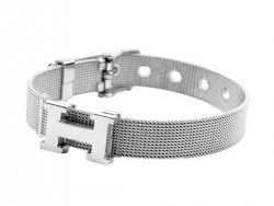 """Hermes """"H"""" Logo Bracelet in 18kt White Gold"""