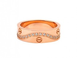 Cartier 18K Pink Gold Love Ring with Pave Diamonds
