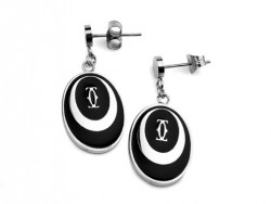 Cartier Drop Earrings in 18kt White Gold with Black Lacquer