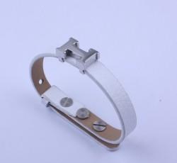 Hermes White Leather With White Gold H Logo Charm Bracelet