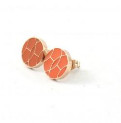 Hermes Orange Enamel Stud Earrings in 18kt Pink Gold