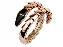 Bulgari Serpenti Bangle Bracelet in 18kt Pink Gold with Black Onyx