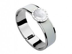 Bulgari-Bvlgari Wide Band Bangle in Steel and White Leather with Mother of Pearl