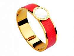 Bulgari-Bvlgari Wide Band Bangle in 18kt Yellow Gold and Red Leather with Mother of Pearl