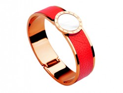 Bulgari-Bvlgari Wide Band Bangle in 18kt Pink Gold and Red Leather with Mother of Pearl