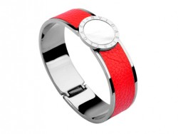 Bulgari-Bvlgari Wide Band Bangle in Steel and Red Leather with Mother of Pearl