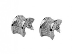 Bulgari B.zero1 Earrings in 18kt White Gold with Pave Diamonds OR856237