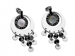 Design Bvlgari Drop Pendant Earrings in 18kt White Gold with Mother of Pearl
