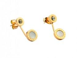Bulgari-Bvlgari Stud Earrings in 18kt Yellow Gold with Mother of Pearl and Diamonds