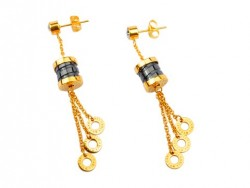Bvlgari B.ZERO1 Pendant Earrings in 18kt Yellow Gold with Black Ceramic and Diamonds