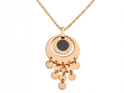 Bvlgari Pendant with a Chain in 18kt Pink Gold with Black Onyx