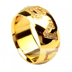 Bulgari Bvlgari Ring in 18kt Yellow Gold with Pave Diamonds