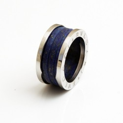 Bvlgari B.ZERO1 4-Band Ring in 18kt White Gold and Blue Marble