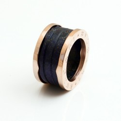 Bvlgari B.ZERO1 4-Band Ring in 18kt Pink Gold and Blue Marble
