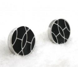 Hermes Black Enamel Stud Earrings in 18kt White Gold